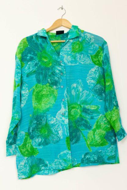 chemise bleue motif fleuri vert (3)
