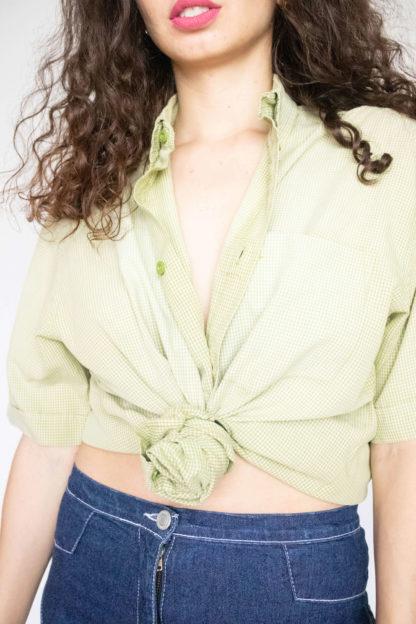 chemise d'homme manches courtes verte motif vichy (2)