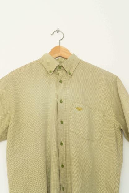 chemise d'homme manches courtes verte motif vichy (3)