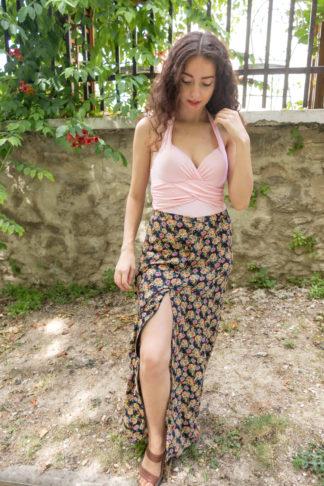 jupe longue fendue noir motif fleuri (1)