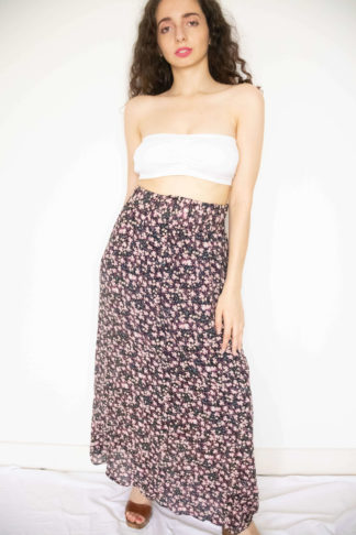 jupe longue noir motif fleuri (1)
