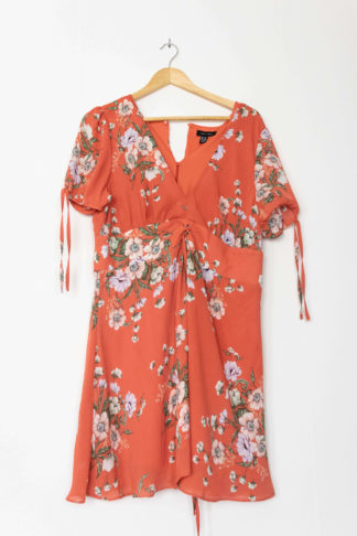 robe courte terracotta motif fleuri (1)