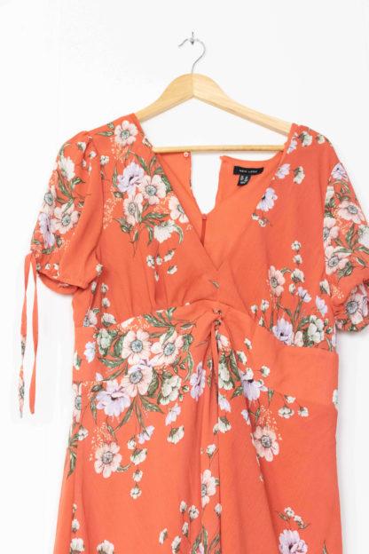 robe courte terracotta motif fleuri (2)