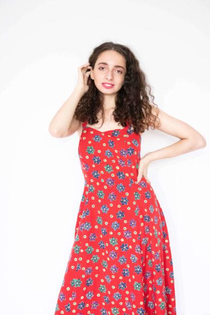 robe longue rouge motif fleurs (1)