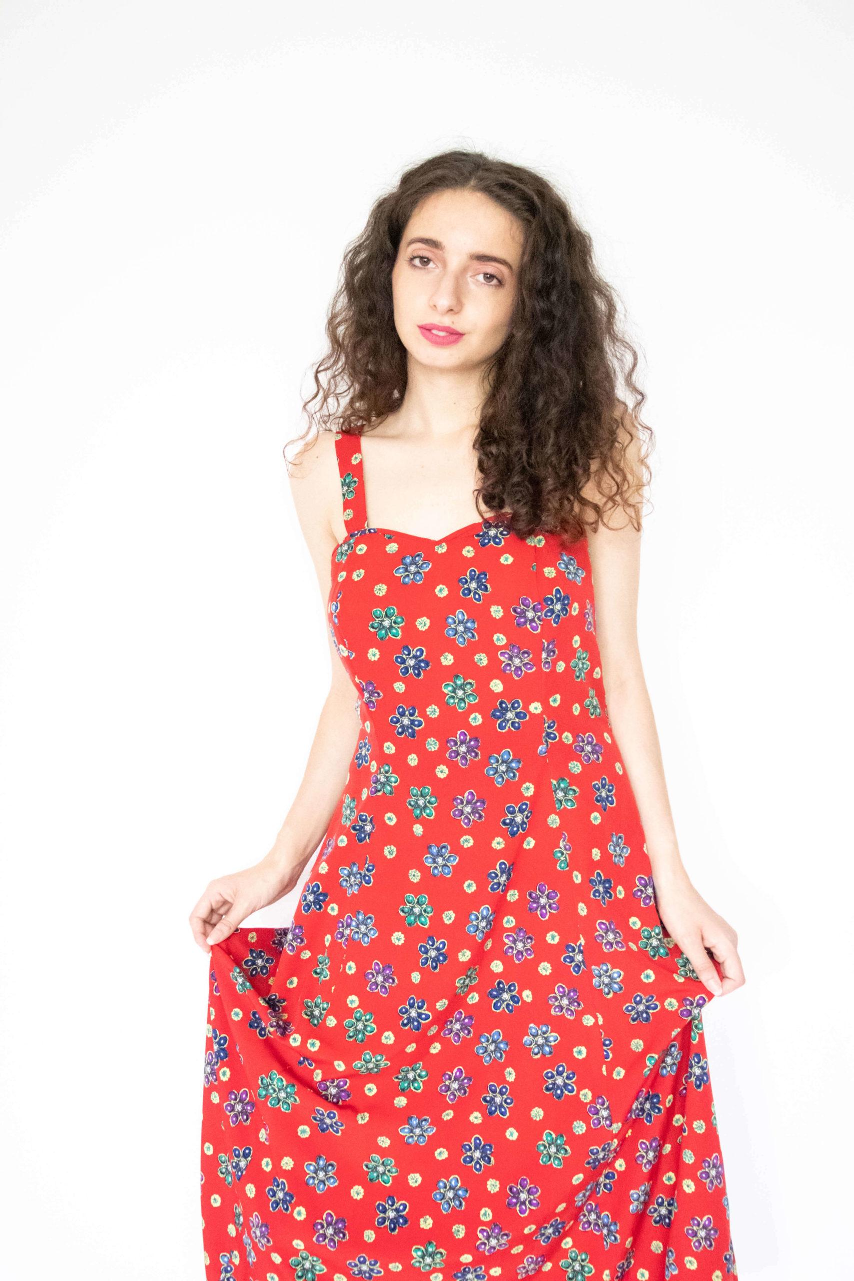 robe longue rouge motif fleurs (3)