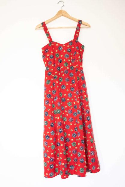 robe longue rouge motif fleurs (4)