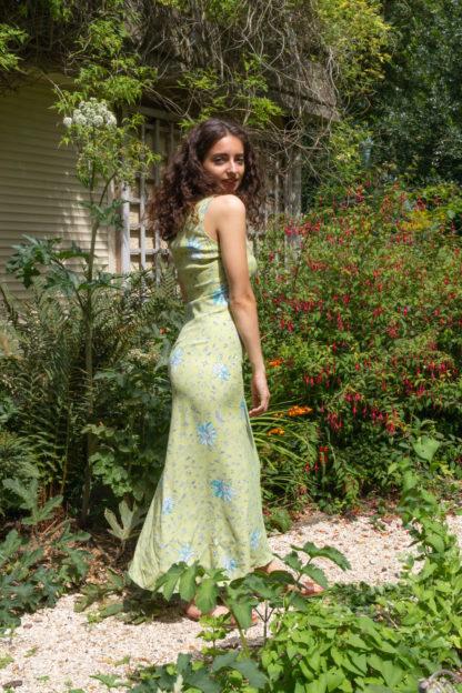 robe longue verte motif fleuri (1)