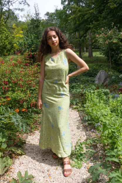 robe longue verte motif fleuri (2)