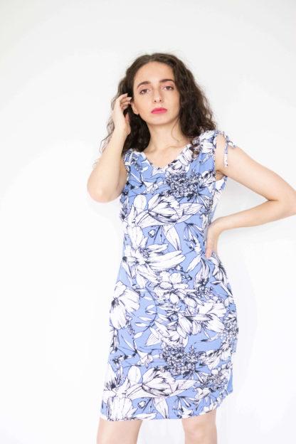 robe moulante épaules resserrées bleue (1)
