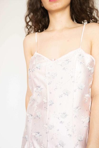 robe nuisette rose poudré motif fleuri (3)