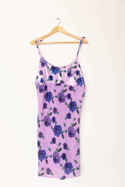robe nuisette transparente lilas motif fleuri (5)