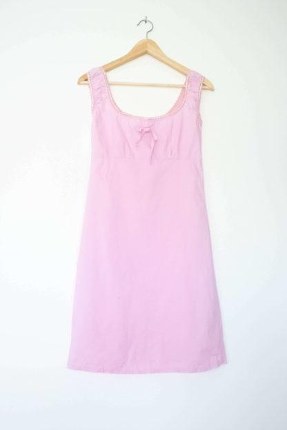 robe rose petit col carré dentelle (2)