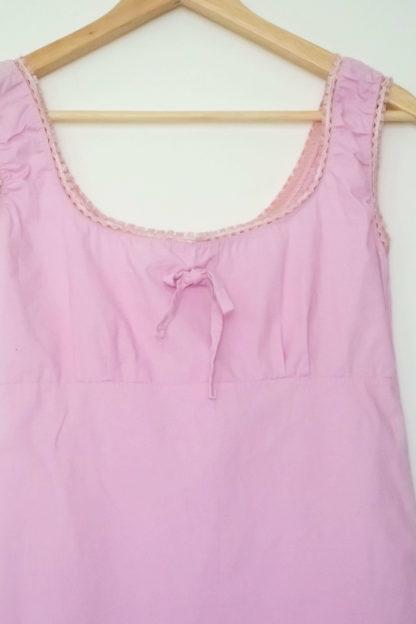 robe rose petit col carré dentelle (3)
