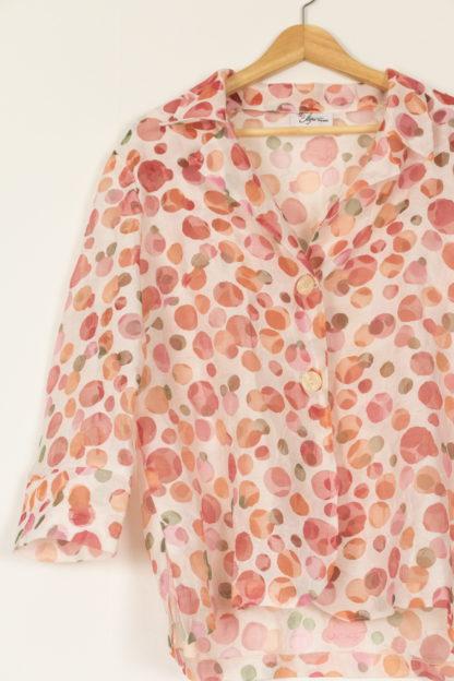 chemise vintage blanche transparente motif rond coloré (5)