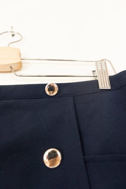 jupe trapèze bleue boutons dorés (2)
