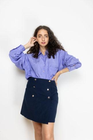 jupe trapèze bleue boutons dorés (3)