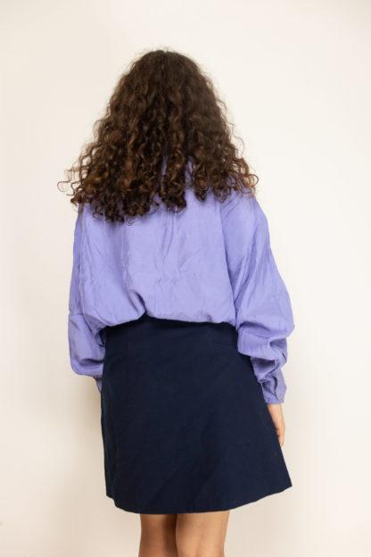 jupe trapèze bleue boutons dorés (4)