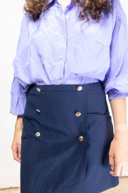 jupe trapèze bleue boutons dorés (5)