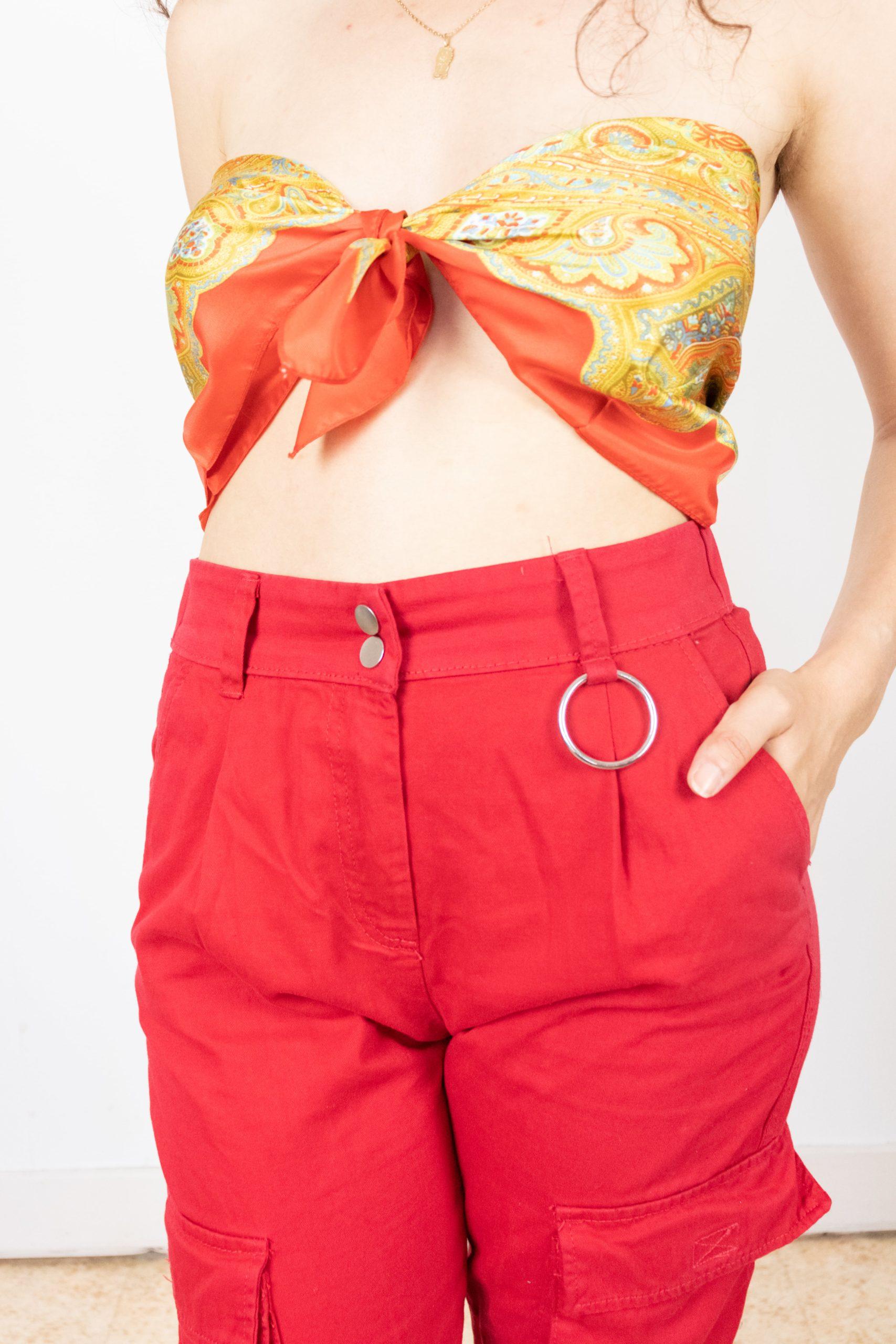 pantalon cargo rouge (1)