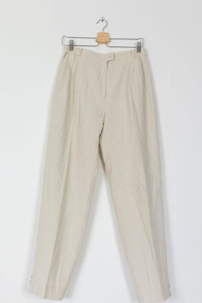 pantalon de costume taille haute vichy blanc beige (1)