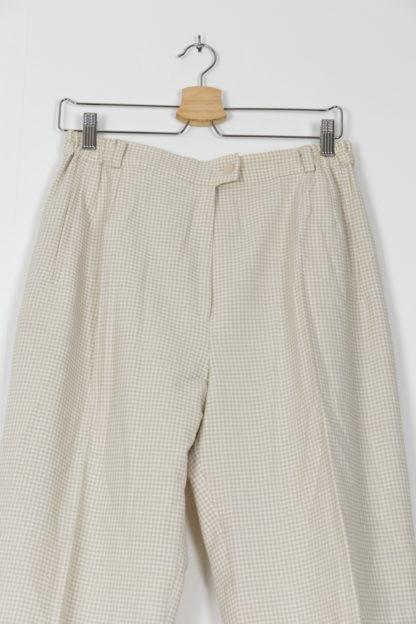pantalon de costume taille haute vichy blanc beige (2)