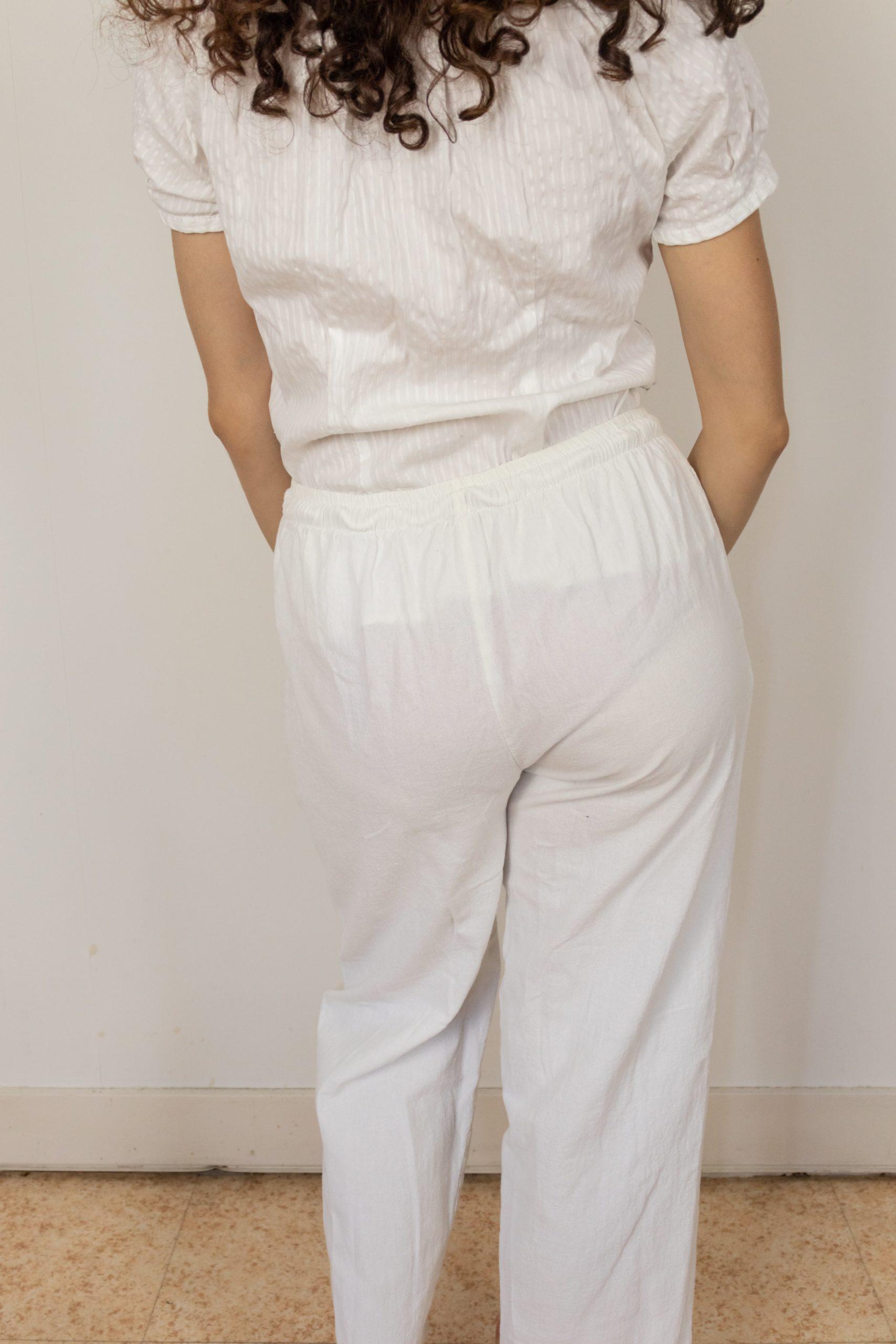 pantalon léger en coton blanc (3)