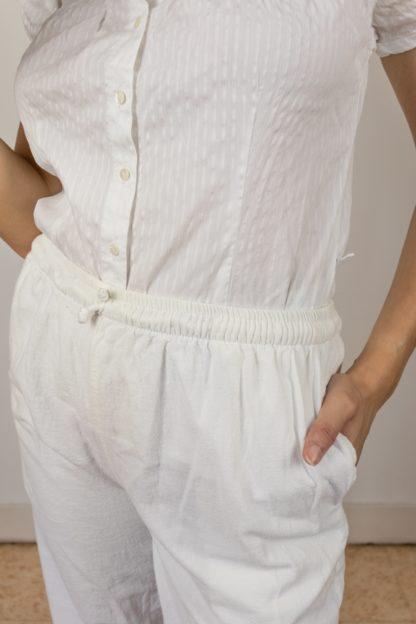pantalon léger en coton blanc (4)