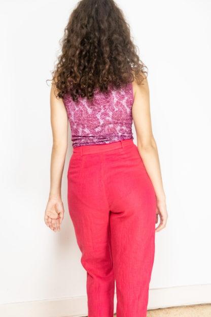 pantalon léger en lin fushia (4)