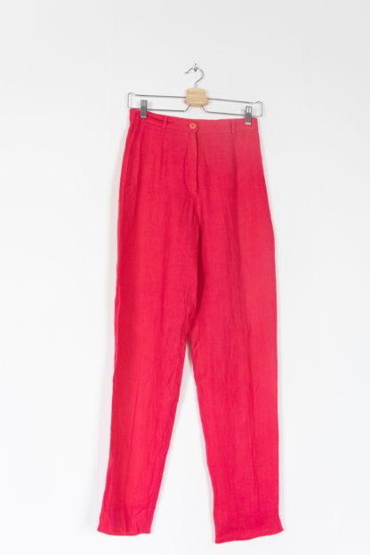 pantalon léger en lin fushia (5)