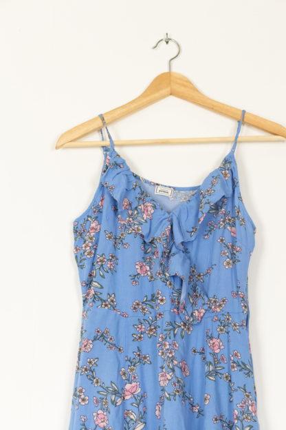 robe bleu portefeuille motif fleuri (3)