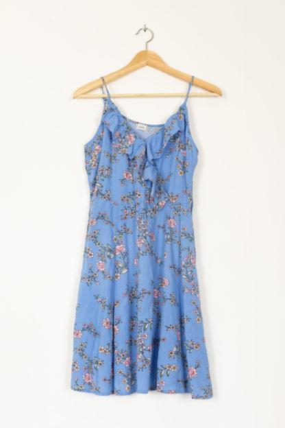 robe bleu portefeuille motif fleuri (4)