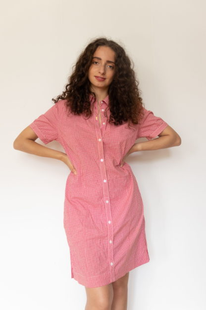 robe chemise manches courtes vichy rouge (3)