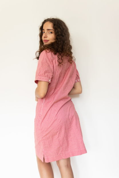 robe chemise manches courtes vichy rouge (4)