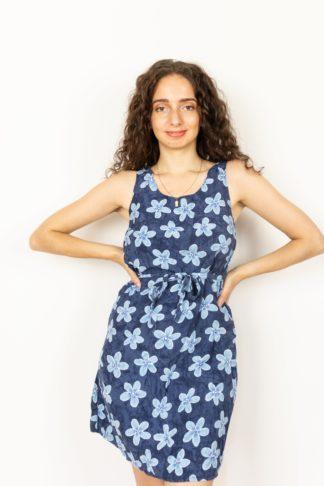 robe vintage bleue grosses fleurs (1)
