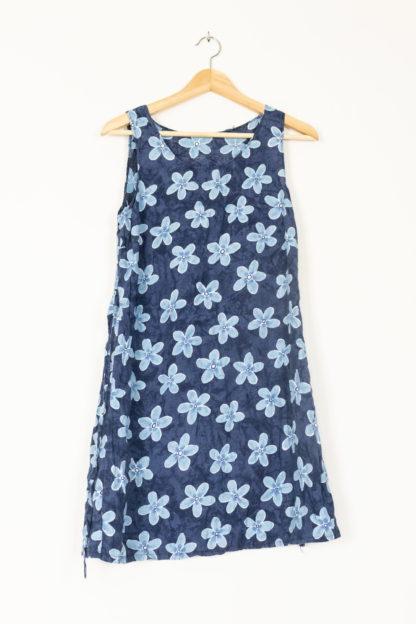 robe vintage bleue grosses fleurs (3)