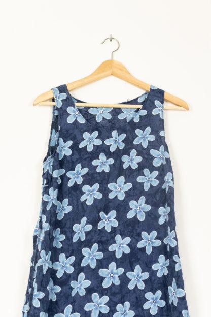 robe vintage bleue grosses fleurs (4)
