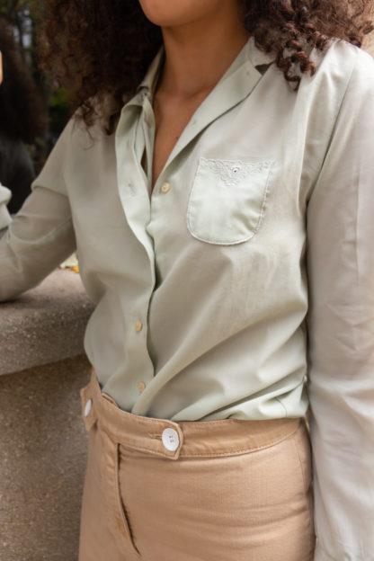 chemise vintage vert pastel (4)