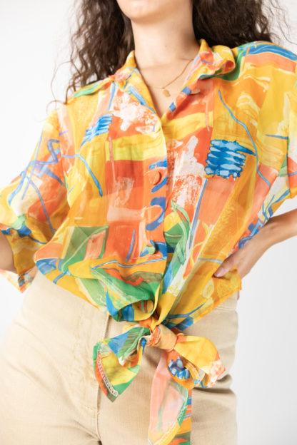 chemisier transparent orange motif coloré (3)