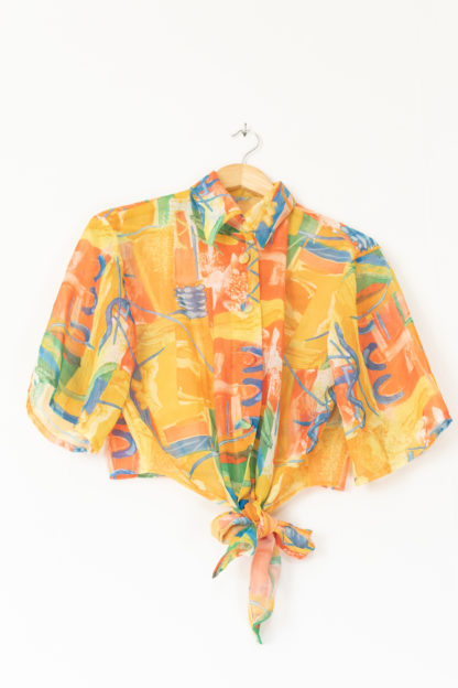 chemisier transparent orange motif coloré (5)