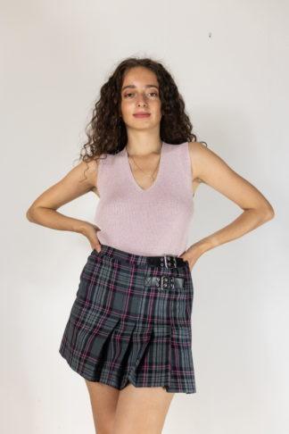 jupe courte plissée à carreaux petites ceintures (1)