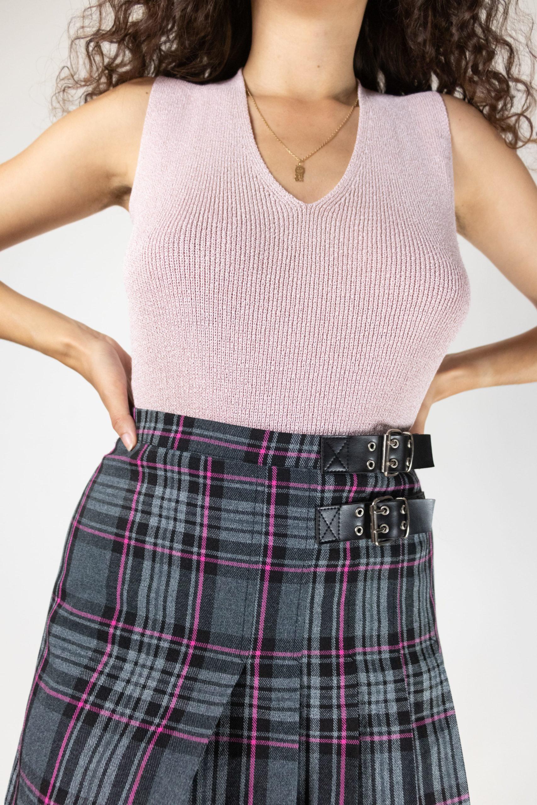 jupe courte plissée à carreaux petites ceintures (3)