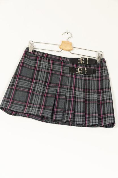 jupe courte plissée à carreaux petites ceintures (4)