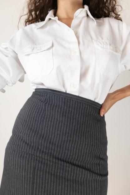 jupe tailleur moulante grise à rayures (5)