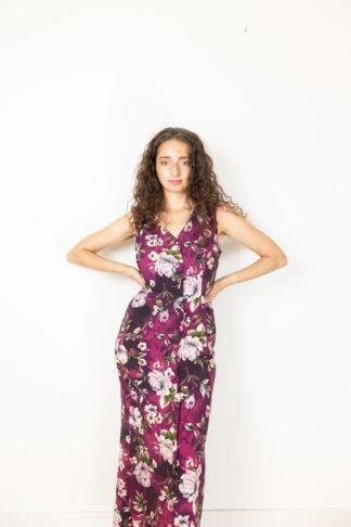 robe longue vintage aubergine motif fleuri (1)