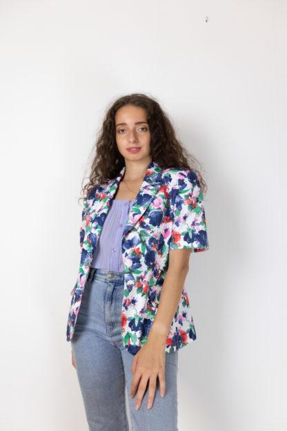veste vintage à manches courtes fleuri (1)