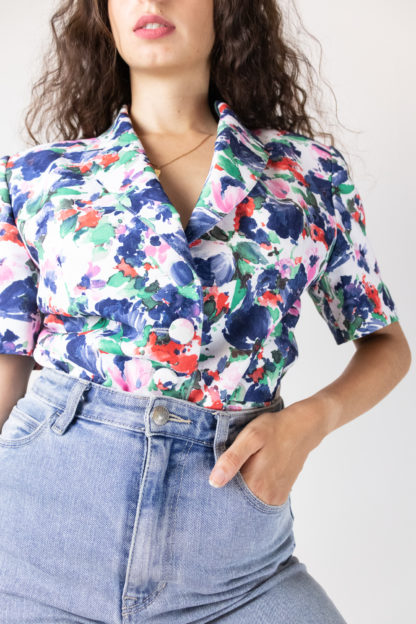 veste vintage à manches courtes fleuri (2)