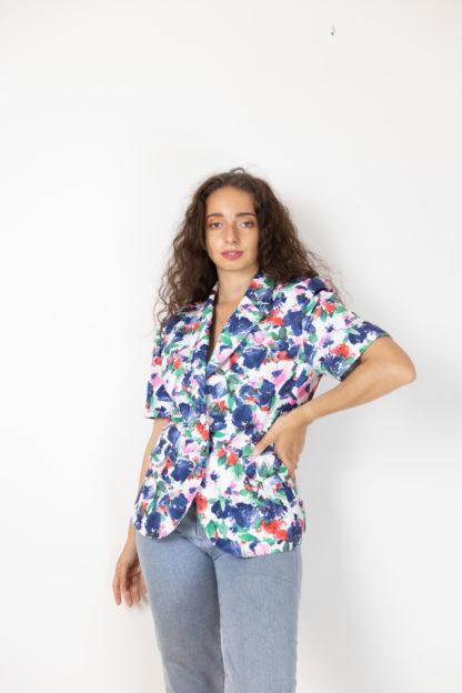 veste vintage à manches courtes fleuri (5)