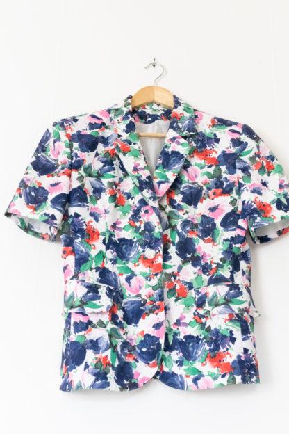 veste vintage à manches courtes fleuri (6)
