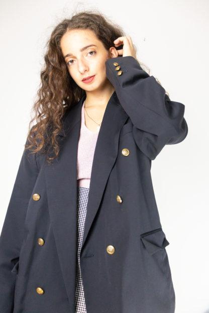 blazer vintage noir à boutons dorés (3)