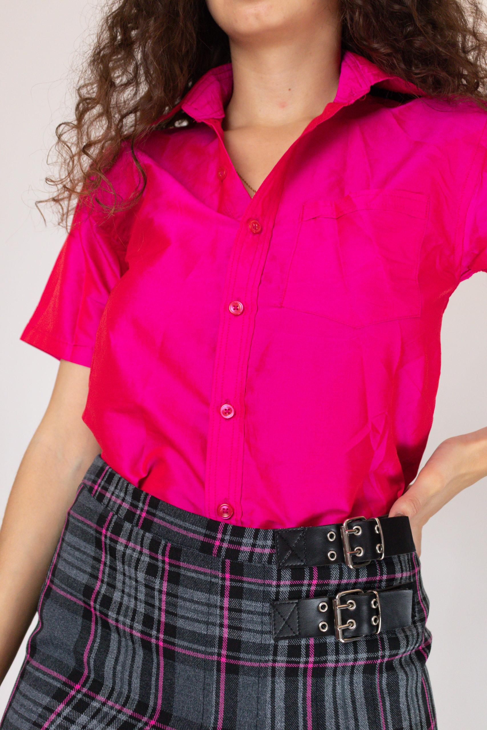 chemise fushia à manches courtes (2)